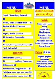 English Worksheet: Breakfast Menu