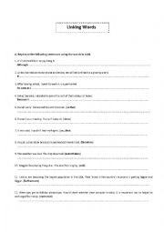 English worksheet: Linking words practice