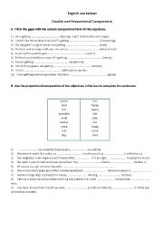 English Worksheet: Proportional and double comparative