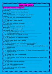 English worksheet: Reported Speech :Rephrasing all forms