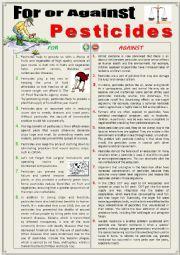 English Worksheet: For or against pesticides (debating)