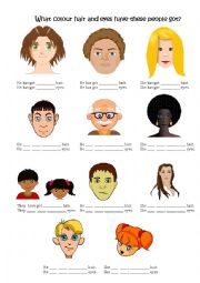 English Worksheet: Has got and have got describing hair and eye colour