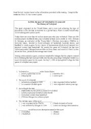English Worksheet: History of Volleyball