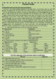 English worksheet: Phrasal Verbs through context.