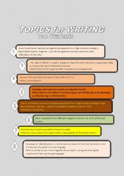 English Worksheet: TOPICS for WRITING FOR BAC STUDENTS
