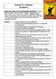 English Worksheet: Bowling for Columbine Vocabulary