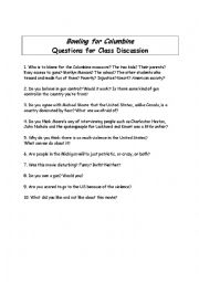 English Worksheet: Bowling for Columbine Class discussion