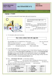 English Worksheet: mid term 2 test 7th forms