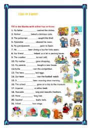 English Worksheet: Has/have