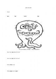 English Worksheet: Label the Alien
