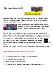 English Worksheet: Heat Attack Grill: American Culture