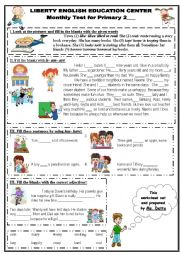 English Worksheet: Grammar Monthly Test for Primary 2
