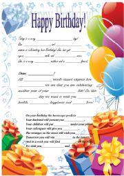 English Worksheet: birthday certificate