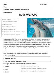 prepositions, reading about dolphins