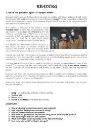 English Worksheet: China�s air pollution again at danger levels