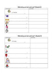 English Worksheet: Pair work activities last weekend