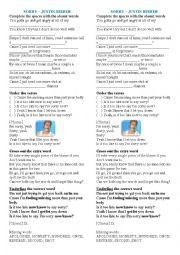 English Worksheet: Sorry - Justin Bieber