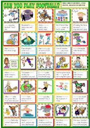 English Worksheet: Can you play football? can /can�t