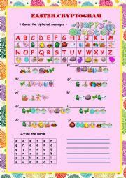 English Worksheet: 2 Pages  EASTER CRYPTOGRAM  and CROSSWORDS