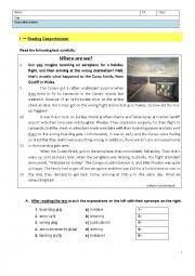 English Worksheet: A Strange Trip - means of transport & transit words - 8th Grade Test