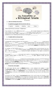 English Worksheet: The Benefits of a Bilingual Brain