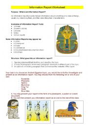 English Worksheet: Information Report Worksheet and Scaffold (Ancient Egypt)