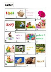 English Worksheet: Easter - board game