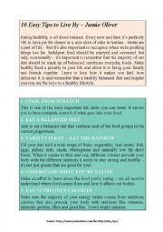 English Worksheet: READ AND TALK - 10 easy tips to live by, Jamie Oliver