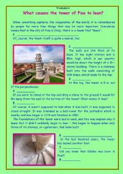 English Worksheet: What causes  the tower of Pisa to lean?