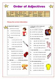 English Worksheet: Order of Adjectives