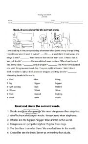 English Worksheet: 4th grade Reading Test
