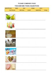 English worksheet: FOOD COMPARISON