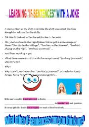 English worksheet: Learning conditionals on the base of a joke