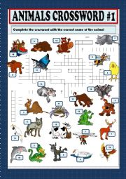 English Worksheet: Animals crossword part 1