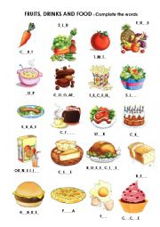 Food, drinks and fruits   Missing letters   ESL worksheet by Noni88
