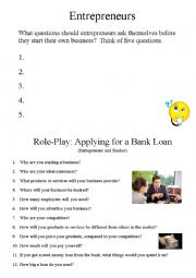 Entrepreneurs - Bank Loan Role-Play Handout