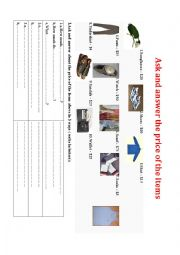 English Worksheet: Ask and answer the price of the items