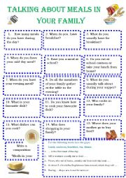 English Worksheet: Talkig about meals in your family