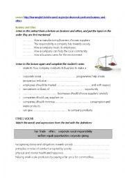 English Worksheet: business ethics