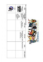 English Worksheet: Urban tribes part 1