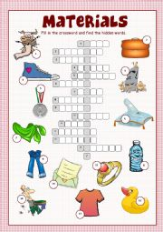 English Worksheet: Materials Crossword Puzzle