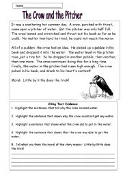 English Worksheet: The Crow and the Pitcher:  A Fable by Aesop