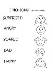 English Worksheets Emotions Feelings Coloring Page