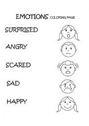 Emotions & Feelings Coloring Page - ESL worksheet by ...