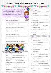 English Worksheet: Present continuous for the future + B&W version