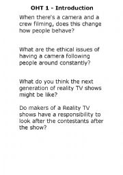 English Worksheet: Design your own reality TV show