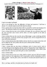 English Worksheet: I Have A Dream