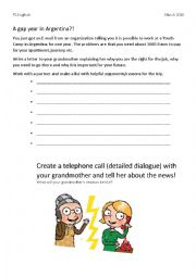 English Worksheet: Gap year in Argentina - create a dialouge