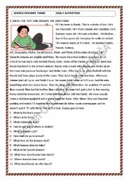 English Worksheet: a text about simple present tense