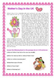 English Worksheet: Mother´s Day in the UK